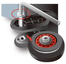 六角レンチ又はコイン等でボルトを緩めて抜き、本体からタイヤを外します。